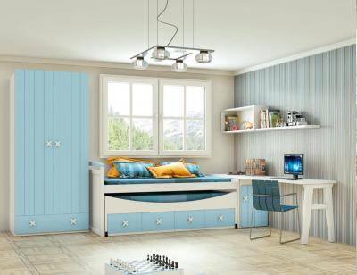 Dormitorio juvenil madera cama nido armario 139