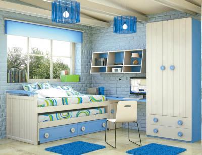 Dormitorio juvenil madera cama nido armario 140