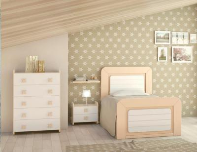 Dormitorio juvenil madera cama nido armario 141