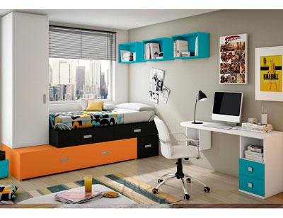 Dormitorio juvenil moderno box cube armario azul