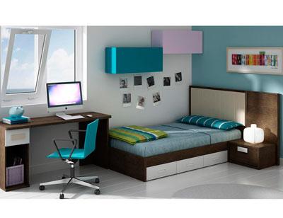 Dormitorio juvenil moderno box cube cabecero polipiel