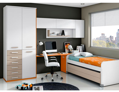 Dormitorio juvenil moderno box cube dos cama blanco