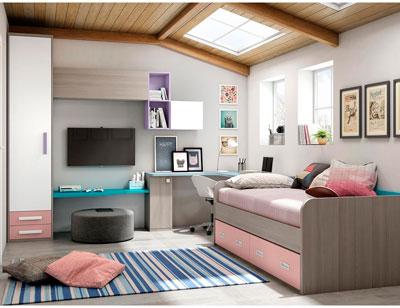 Dormitorio juvenil moderno box cube dos cama rosa