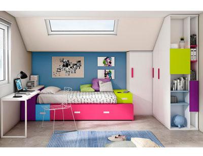Dormitorio juvenil moderno box cube lila