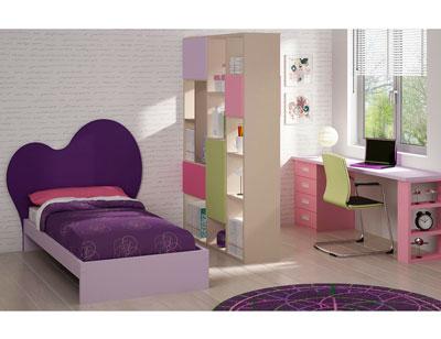 Dormitorio juvenil moderno cama cabecero lila