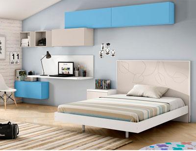 Dormitorio juvenil moderno cama tatami grande lacado