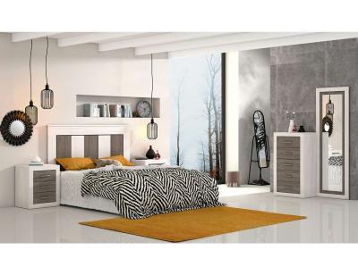 Dormitorio matrimonio anderse pino gris