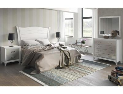Dormitorio matrimonio blanco lacado neoclasico