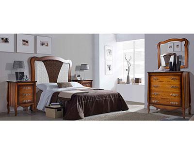 Dormitorio matrimonio cabecero tapizado comoda color castaño