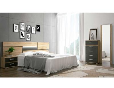 Dormitorio matrimonio cambrian grafito tapizado priego 1