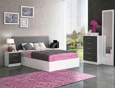 Dormitorio matrimonio estilo moderno tapizado pu deva blanco grafito