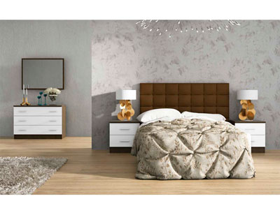 Dormitorio matrimonio estilo moderno tapizado pu mulano wengue blanco