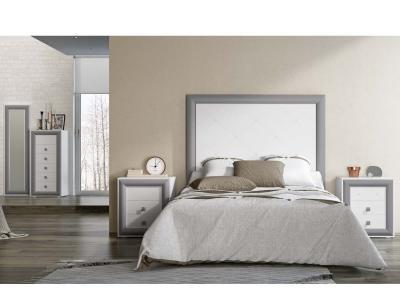 Dormitorio matrimonio madera blanco plata