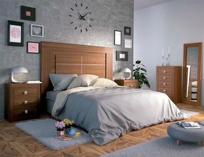 Dormitorio matrimonio moderno 01 color nogal
