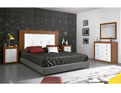 Dormitorio matrimonio moderno 13 nogal blanco