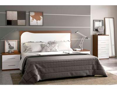 Dormitorio matrimonio moderno 19 nogal blanco