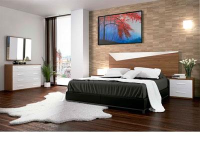 Dormitorio matrimonio moderno 22 nogal blanco