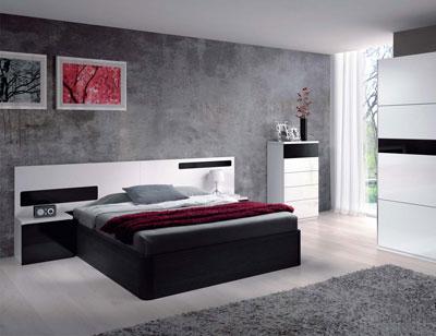 Dormitorio matrimonio moderno blanco brillo negro