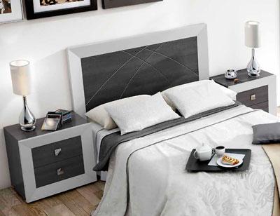 Dormitorio de matrimonio moderno con cabecero en polipiel ...