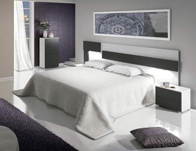 Dormitorio matrimonio moderno cabecero leds sinfonier blanco grafito 05