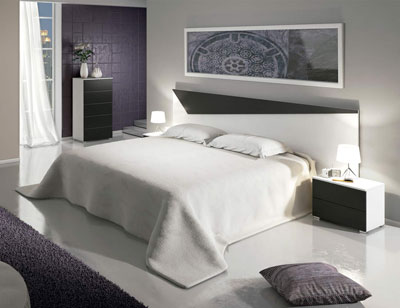Dormitorio matrimonio moderno sinfonier blanco grafito