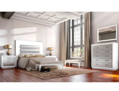 Dormitorio matrimonio neoclasico cabecero tapizado blanco 2