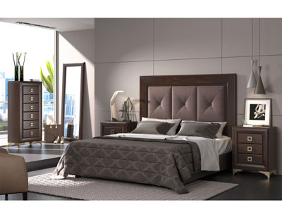 Dormitorio matrimonio nogal tapizado patas