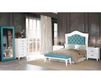 Dormitorio matrimonio romantico turquesa patas isabelinas