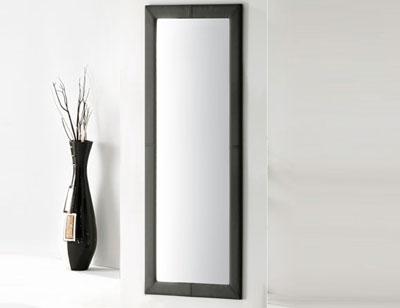 Espejo alto tapizado polipiel negro