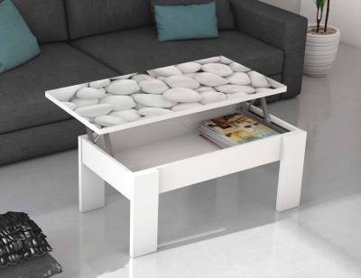 Mesa centro elevable blanca piedras