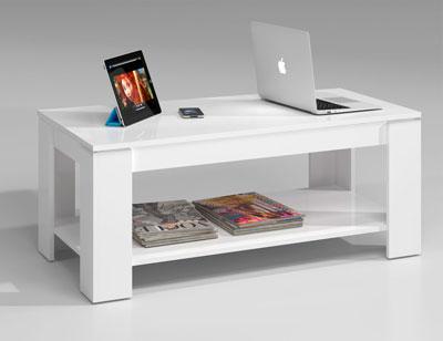 Mesa centro elevable blanco barata 3
