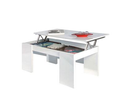 Mesa centro elevable blanco barata