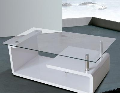 Mesa centro fija blanca cristal