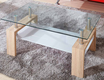 Mesa centro tapa cristal templado roble