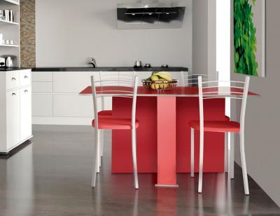 Mesa cocina convertible roja