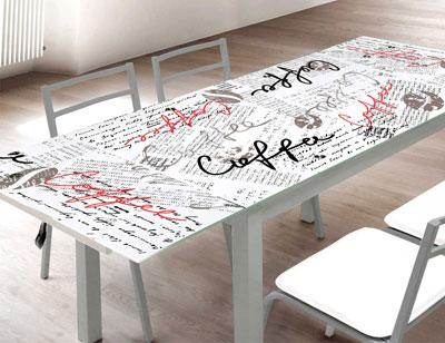 Mesa cocina cristal templado extensible 207 coffe 2