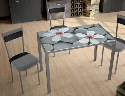 Mesa cocina cristal templado flores 279 negro