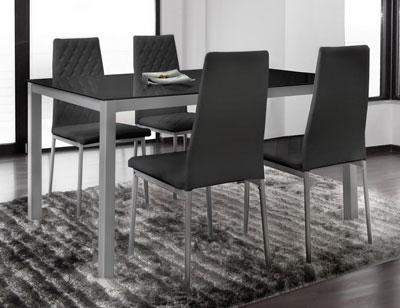 Mesa cocina cristal templado negra 201 381 silla1