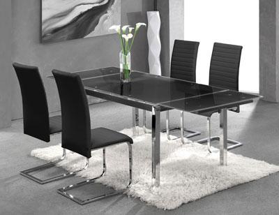 Mesa cocina cristal templado negra extensible 207 3721