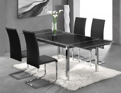 Mesa cocina cristal templado negra extensible 207 3723