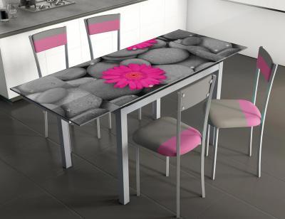 Mesa cocina extensible cristal 207 flores