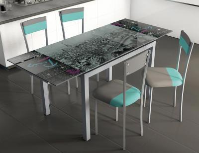 Mesa cocina extensible cristal 207 skyline