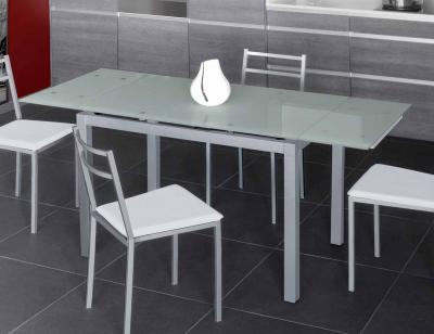 Mesa cocina extensible cristal translucido