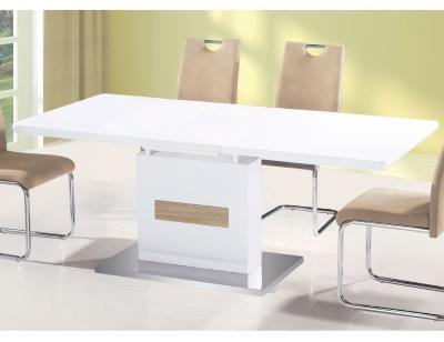 Juego de 4 sillas con respaldo y asiento tapizado en gris - Mesa blanca extensible ...