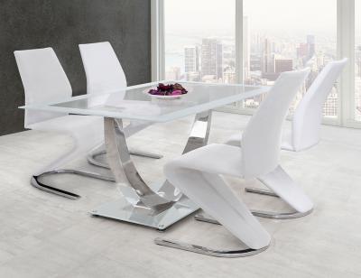 Mesa comedor cristal blanco decorativa 282