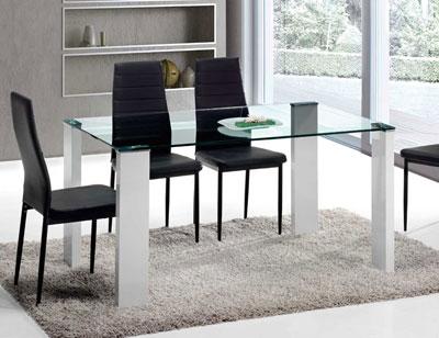 Mesa comedor cristal templado blanca 150 cm