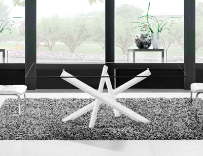 Mesa comedor cristal templado blanca 180 cm