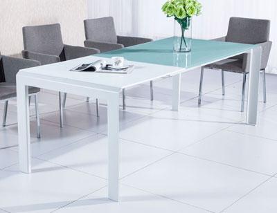 Mesa comedor cristal templado blanco extensible