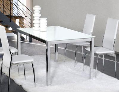Mesa comedor cristal templado cromada 201 blanca 3091