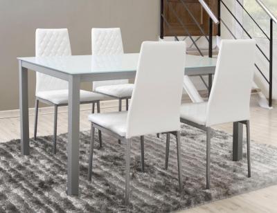 Mesa comedor cromada cristal blanco 201